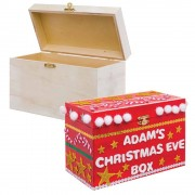 Baker Ross Christmas Eve Box - 20cm x 12cm. Plain wooden box with metal clasp to decorate & personalise.