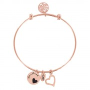 CO88 Armband 'Levensboom-Hart' staal/rosékleurig, all-size 8CB-11001