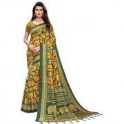 Indian Beauty Women's Green Color Mysore Silk Printed Saree Border Tassels With Blouse Piece(SUNG-GREEN_Free Size)(In 4 Colors Available)