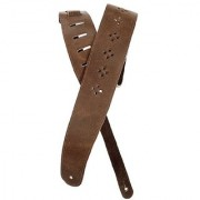 Planet Waves Vented Leather Guitar Strap Brown Diamonds