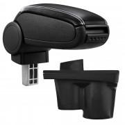 [pro.tec]® Reposabrazos central para Opel Adam - apoyabrazos con compartimento - tapizado - polipiel - negro con costuras de color blanco
