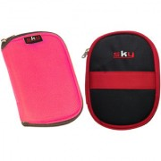 Sky Hard Disk Pouch Combo Pink With Red