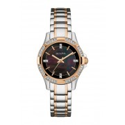 Bulova Womens Swarovski Crystal Black Dial Two-Tone Watch 30mm NO COLOR