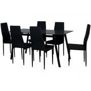 CONFORAMA Ensemble table + 6 chaises de cuisine MELVIN coloris noir