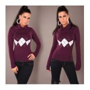 Pull Fashion Col Roulé Violet ( Couleur:Violet Tailles S/M M/L...:L/XL)