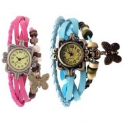 Unique Designer Vintage Leather Pink And Sky Blue Butterfly Bracelet Watch For Girls And Women 6 month waranty