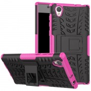 Capa Híbrida Antiderrapante para Sony Xperia L1 - Preto / Cor-de-Rosa Forte