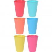 Merkloos 6x Gekleurde drinkbeker/mok kunststof 12 cm