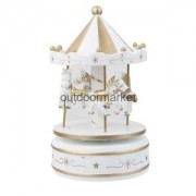 Alcoa Prime Wooden Merry Go Round Carousel Music Box Clockwork Fairy Wind up Toy White
