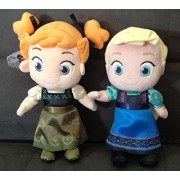 Princess Anna & Elsa Set. Frozen Plush Toys. Set Of 2 Princesses As Toddlers. Packaged With A Ribbon, Ready For Gift Giving.