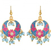 Spargz Cute Gold Plated Daily Wear Multicolor Meenakari Chandbali Hook Earrings For Women AIER 1061