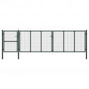 vidaXL Градинска порта, стомана, 500x125 см, зелена