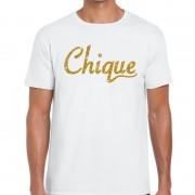 Bellatio Decorations Chique goud glitter tekst t-shirt wit heren