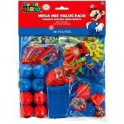 Amscan Super Mario BrothersTM Mega Mix Paquete de Recuerdos para Fiestas, Regalo