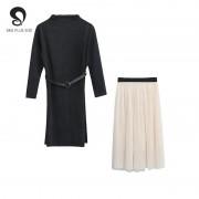 Automne 2019 nouveau manches longues col montant chemise robe noire Joker deux pièces en mousseline de soie jupe plissée 100kg