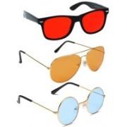 Elligator Aviator, Round, Wayfarer Sunglasses(Red, Orange, Blue)