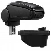 [pro.tec]® Naslon za ruke – specifičan za Peugeot 308 I - naslon za ruke za auto - sa pretincem - umjetna koža - crno, sa bijelim šavovima