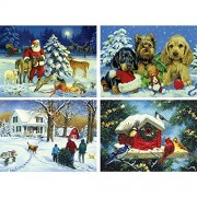 Bits and Pieces - Set of Four (4) 300 Piece Jigsaw Puzzles for Adults - Christmas Scenes - 300 pc Holiday Jigsaws by Artist Linda Picken