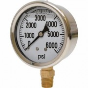 Valley Instrument 2 1/2Inch Stainless Steel Glycerin Gauge - 0-6,000 PSI