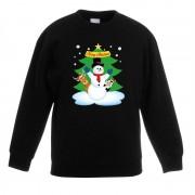 Bellatio Decorations Kersttrui sneeuwpop en vriendjes zwart kinderen