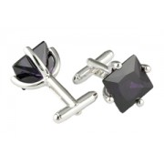 Mousie Bean Crystal Cufflinks CZ Square 146 Amethyst