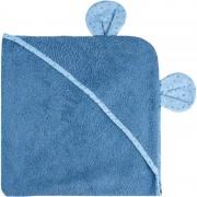 Bubaba ručnik s kapuljačom s ušima 100x100 cm plavi