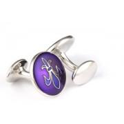 Mousie Bean Enamelled Cufflinks Fleur de Lys 070 Purple & Blue