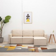 vidaXL 3-местен модулен диван легло, кремав, текстил