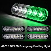ELECTROPRIME 4X 12V Green/White 6 LED 18W Flash Urgent Car Warning Strobe Flashing Light Lamp