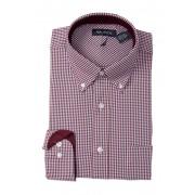 Nautica Checkered Classic Fit Dress Shirt DARK RED CHECK