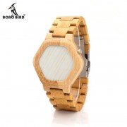 BOBO BIRD V-E03 Men LED Digital Bamboo Watch Night Vision LED Watch Cool LED Display Clock with Unique LED Date Day