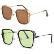 Magjons Retro Square Sunglasses(Brown, Green)