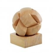 Joc de indemanare Minge Puzzle, 6 piese, Everestus, JJE14, lemn, natur, saculet de calatorie inclus