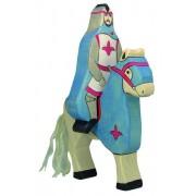 Fa játék figurák - lovag, kék, lovagló, ló nélkül