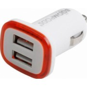 Incarcator Auto Boompods Mini 2.4A Dual USB led indicator incarcare rapida Alb