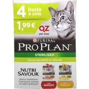 Purina Pro Plan Cat Nutrisavour Multipack Adult Sterilised Pollo e Manzo Bustine in Salsa 4 x 85 g