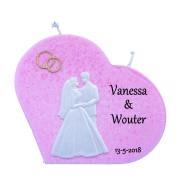 Trouwkaars hart roze met was decoratie bruidspaar/gouden ringen