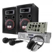 Set DJ 1000W casse, amplificatore, mixer, cuffie, microfono