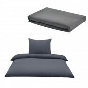 Комплект спално бельо [neu.haus]® плик за завивка(135x200cm) и чаршаф(140-160x200cm), калъф за възглавница (80x80см), Сив