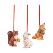 Villeroy & Boch Nostalgic Ornaments ensemble d'ornements animaux de la forêt, 6 x 7 cm, 3 pièces