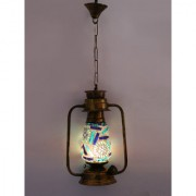 Somil Antique Pendant Hanging Lantern Lamp Light With Colorful Glass Perfect Match Of Trading And Traditional