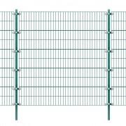 vidaXL zöld vas kerítéspanel oszlopokkal 6 x 2 m
