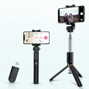 ROCK Bluetooth Portable and Extendable Mini Selfie Stick with Tripod - Black
