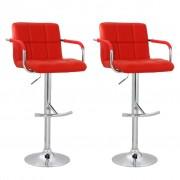 vidaXL Бар столове с подлакътници и висока облегалка, червена кожа – 2 броя
