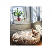 Bessie + Barnie Bagel Bolster Dog Bed w/Removable Cover, Leopard/White, Small