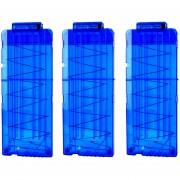 3pcs Clips De Bala Suaves 12 Balas Para Nerf N-strike Pistola Juguete - Azul Transparente