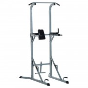HOMCOM Power Tower Pull Push Dip Station Rack-Silver