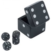Craft Art India Handmade Wooden Dice In Dice Game Set - 2.5 Inches In Black Colour Cai-Hd-0280