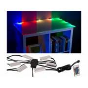 Lunartec Dispositif d'éclairage pour vitrine - 6 pinces et 18 LED - RVB