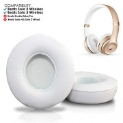 Wicked Cushions Beats Solo 2 & 3 Earpad Replacement - Beats Solo Cushion Replacement for Solo 2 & 3 Wireless On Ear Headphones   White